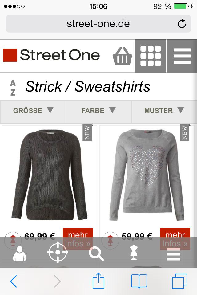 Shopping: aktuelle Outfits von Street One auf dem Smartphone